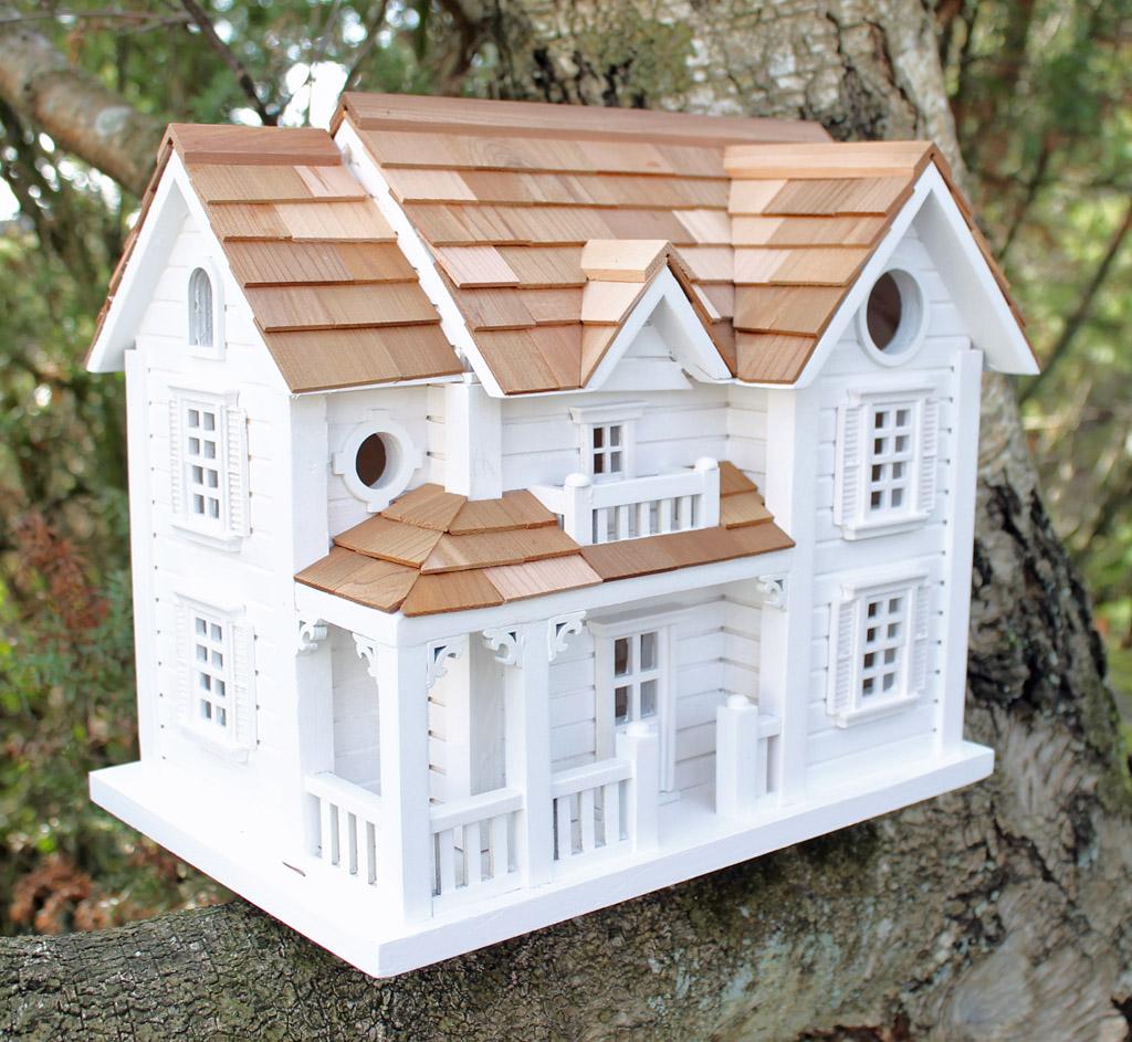 Exklusivt fågelhus fågelholk stort hus i vitt trä med detaljer